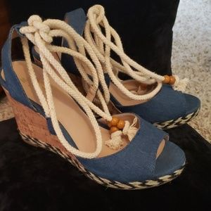 Mix No. 6. Blue Jean wedge  shoes